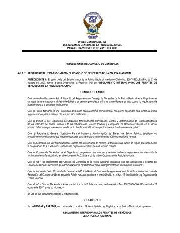 ORDEN GENERAL No. 100 DEL COMANDO GENERAL DE LA ...