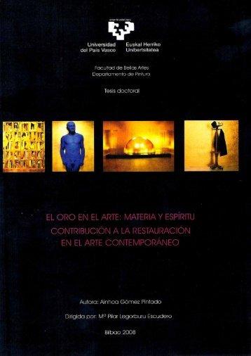 El oro en el arte materia y espiritu - Euskal Herriko Unibertsitatea