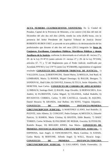 Listado - Poder Judicial de la Provincia de Misiones