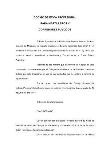 codigo de etica profesional - Colegio de Martilleros y Corredores ...