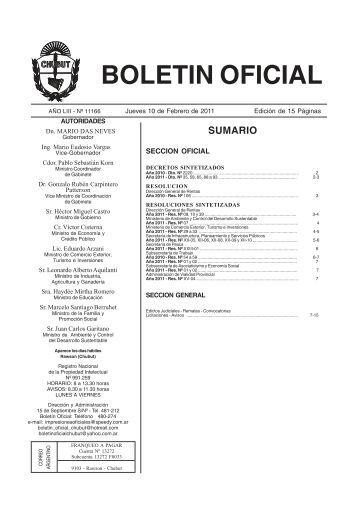 BOLETIN OFICIAL - Gobierno del Chubut