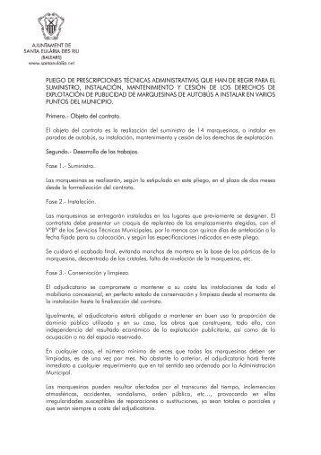 pliego de prescripciones técnicas - Ayuntamiento de Santa Eulalia