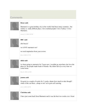 to See Some Comments for This Page from Previous ... - Marmaris