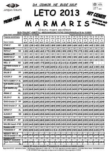 Marmaris cenovnik - Turistička agencija Marco Polo Kragujevac