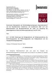 Stellungnahme zum Referentenentwurf vom 09.11.2011 - RAV