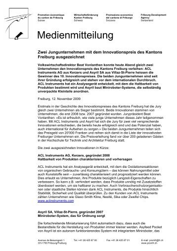 Medienmitteilung - ACL Instruments