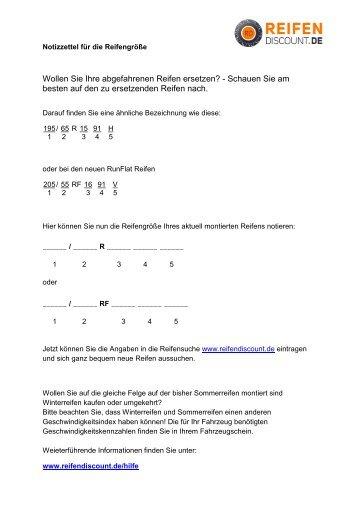 Notizzettel ausdrucken - reifendiscount.de