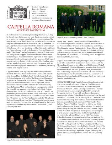 Download touring kit - Cappella Romana