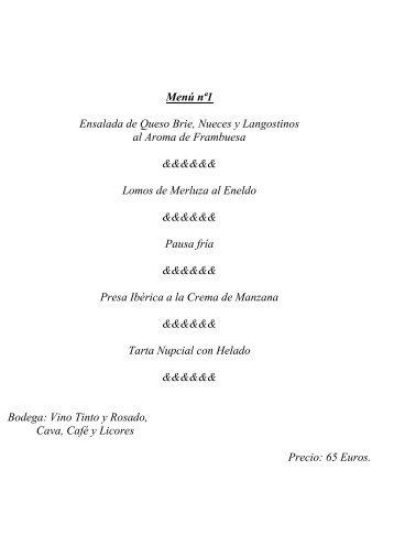 Menú nª1 Ensalada de Queso Brie, Nueces y Langostinos ... - Bodas
