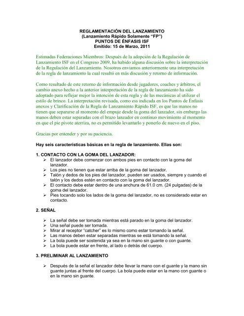 36b235fcb0 REGLAMENTACIÓN DEL LANZAMIENTO - ISF