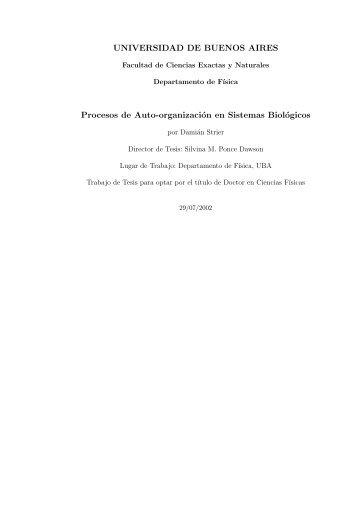 Procesos de autoorganización en sistemas biológicos