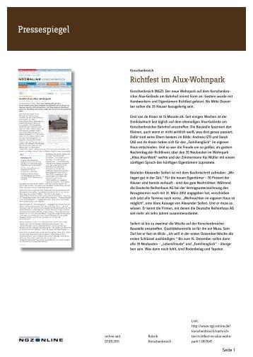 Richtfest im Alux-Wohnpark - Deutsche Reihenhaus AG