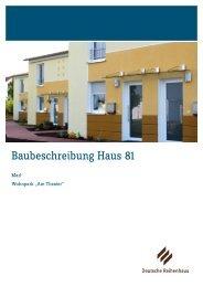 Baubeschreibung Haus 81 - Deutsche Reihenhaus AG