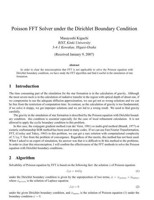 Poisson FFT Solver under the Dirichlet Boundary Condition