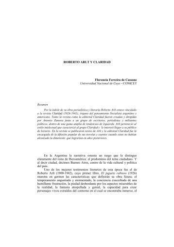 ROBERTO ARLT Y CLARIDAD Florencia Ferreira de Cassone ...