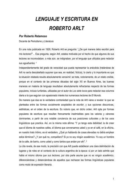 LENGUAJE Y ESCRITURA EN ROBERTO ARLT