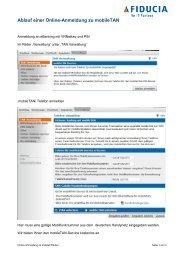 Ablauf einer Online-Anmeldung zu mobileTAN