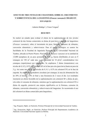 EFECTO DE TRES NIVELES DE COLESTEROL SOBRE EL ...