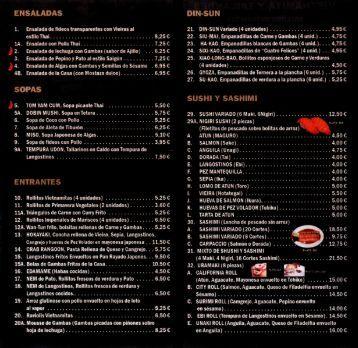 carta - Restaurante Chen