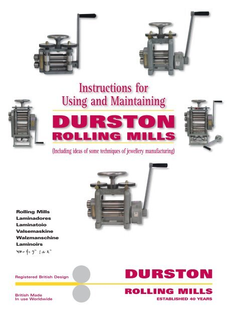 Instructions For Using And Maintaining Durston Rolling Lacy West