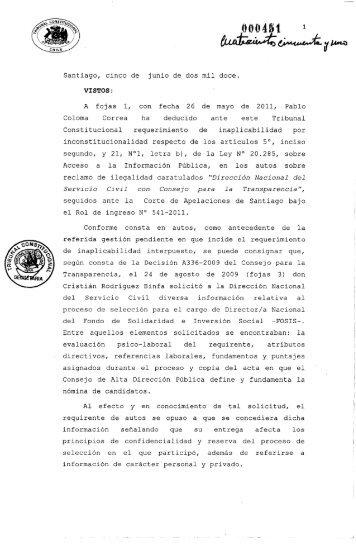 Sentencia sobre Inaplicabilidad por inconstitucionalidad caso