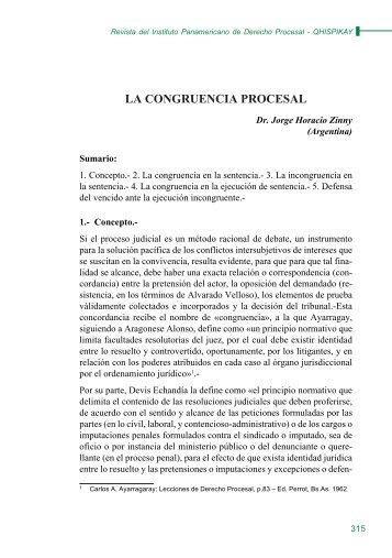 LA CONGRUENCIA PROCESAL - EGACAL
