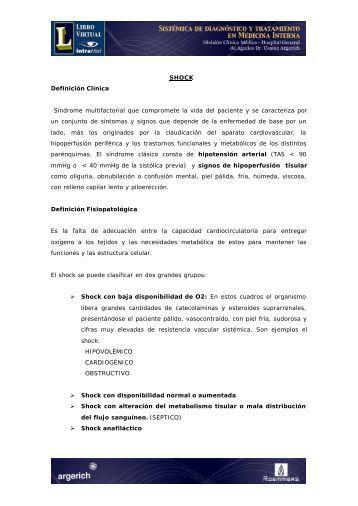 SHOCK Definición Clínica Síndrome multifactorial que ... - IntraMed