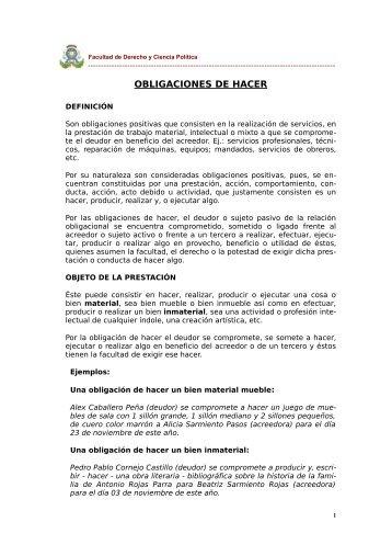 OBLIGACIONES DE HACER