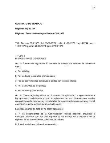 CONTRATO DE TRABAJO Régimen ley 20.744 Régimen. Texto ...