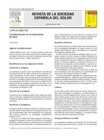 revista de la sociedad española del dolor - SciELO España