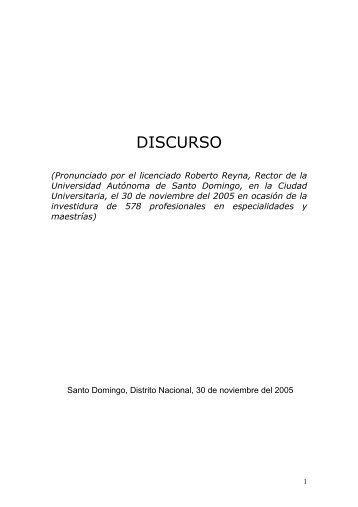 Discursos en Graduación de Postgrado - Roberto Reyna
