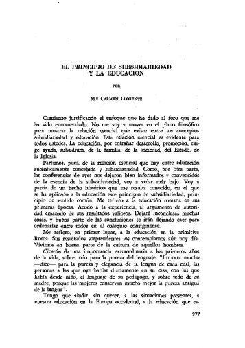 EL PRINCIPIO DE SUBSIDIARIEDAD Y LA EDUCACION