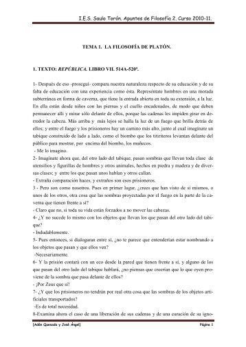 I.E.S. Saulo Torón. Apuntes de Filosofía 2. Curso 2010-11.