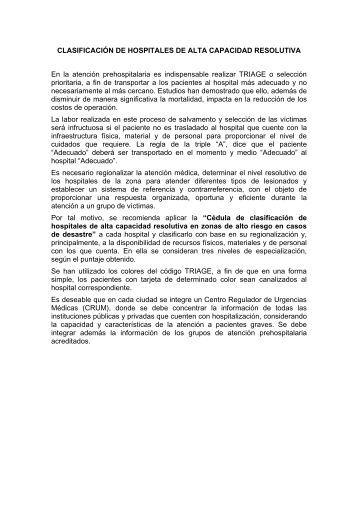 CLASIFICACIÓN DE HOSPITALES DE ALTA CAPACIDAD ... - IMSS