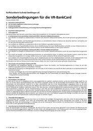 Sonderbedingungen VR-BankCard - Raiffeisenbank Fuchstal ...
