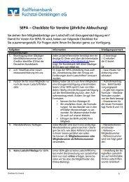 SEPA – Checkliste für Vereine (jährliche Abbuchung)