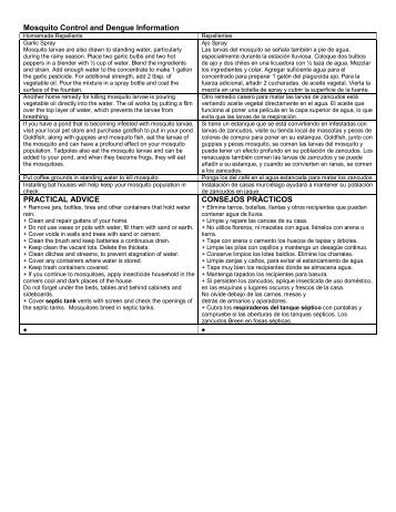 Mosquito Control and Dengue Information PRACTICAL ADVICE ...