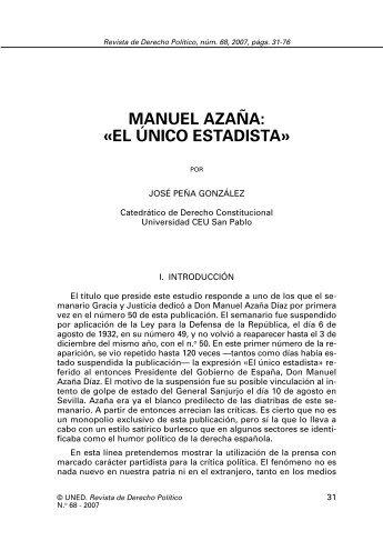 MANUEL AZAÑA: «EL ÚNICO ESTADISTA» - e-Spacio - UNED