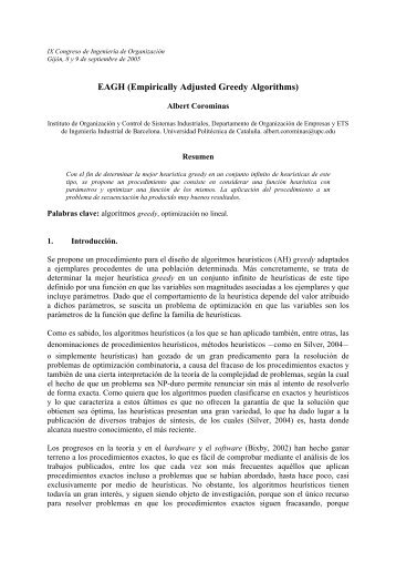 EAGH (Empirically Adjusted Greedy Algorithms) - Adingor
