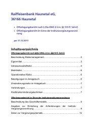 Offenlegungsbericht 2011 - Raiffeisenbank Haunetal eG