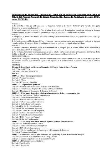 Andalucia. Espacios Naturales Protegidos. PORN y PRUG ... - Fedme