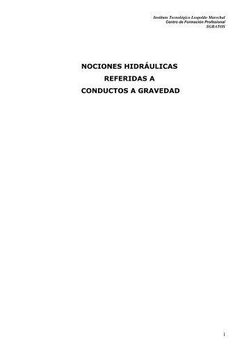 nociones hidráulicas referidas a conductos a gravedad
