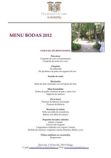 MENU BODAS 2012 - Hacienda del Alamo