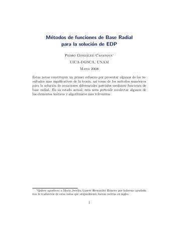 Introducción a la teoría de Funciones Radiales - UNAM
