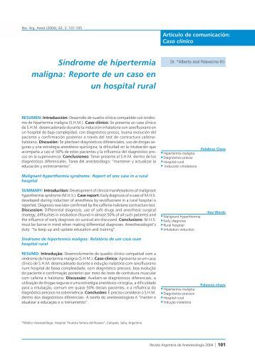 Síndrome de hipertermia maligna: Reporte de un caso en un ...