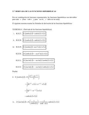 3.7 Derivada de las funciones hiperbólicas