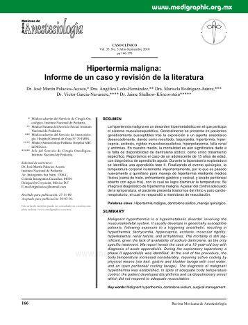 Hipertermia maligna: Informe de un caso y revisión ... - edigraphic.com