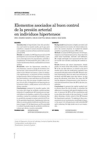 Elementos asociados al buen control de la presión arterial ... - SciELO
