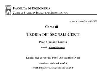 TEORIA DEI SEGNALI CERTI - Comlab