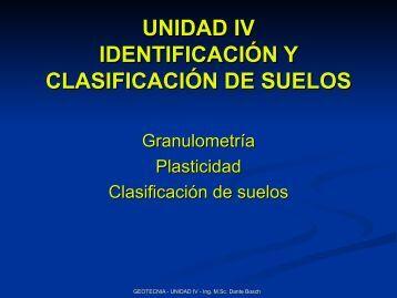 unidad iv identificación y clasificación de suelos - unne